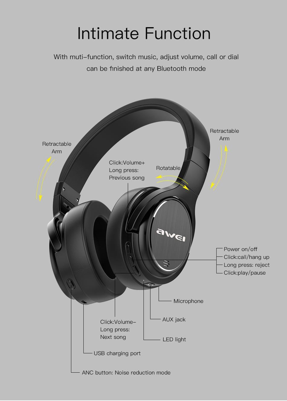 AWEI A950BL Premium Wireless Active Noise Cancellation (ANC) Foldable Headphones