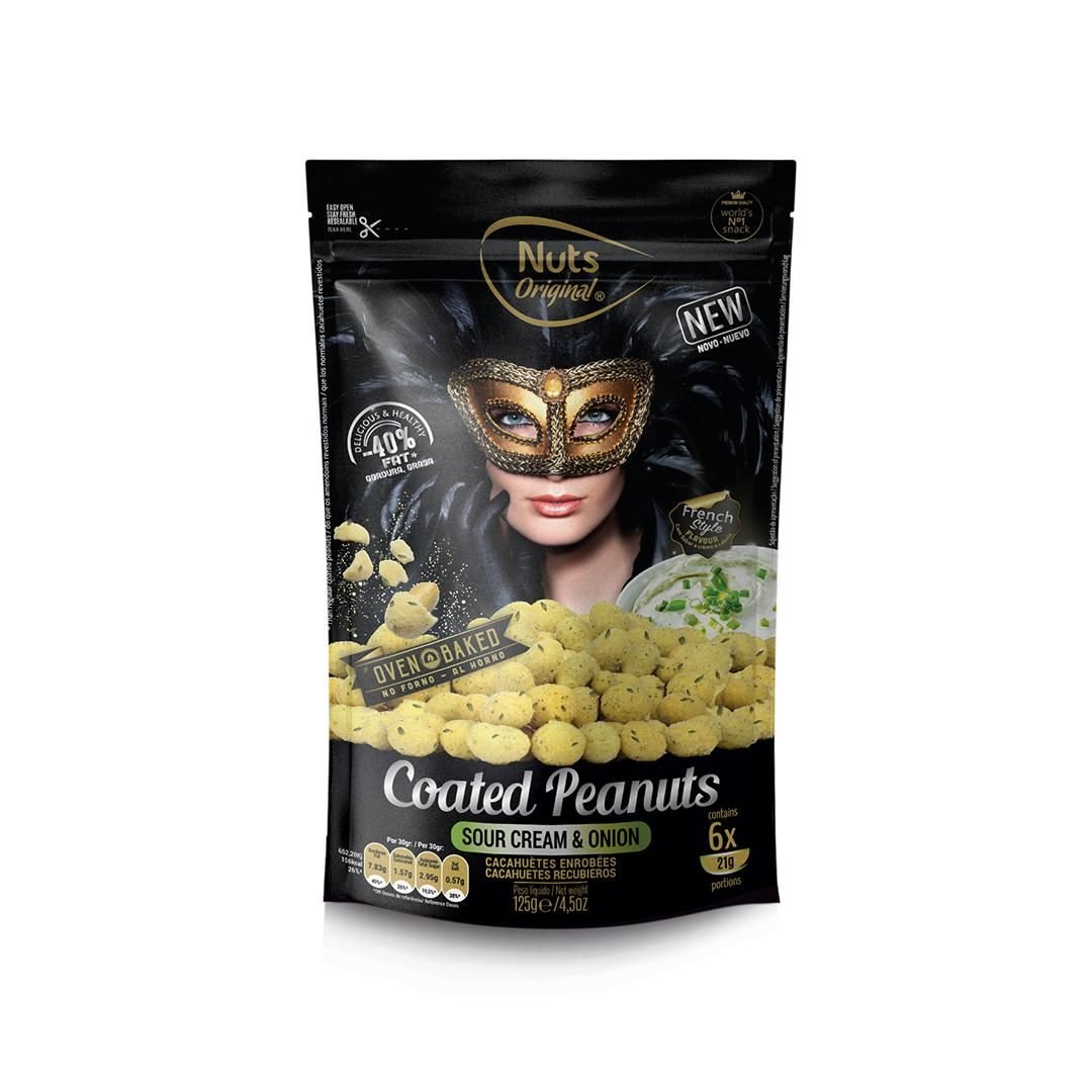 Snack Nuts Original Coated Peanuts Sour Cream and Onion
