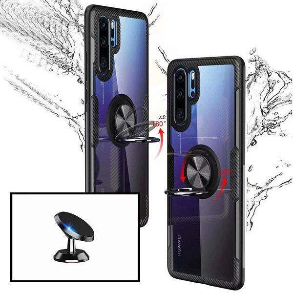 Kit Suporte magnético carro capa case 3X1 Clear Armor Huawei P30 Lite New Edition